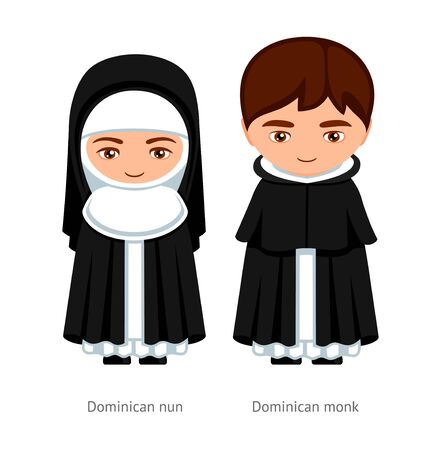 Dominican monk and nun. Catholics. Religious man and woman. Cartoon character. Vector illustration.