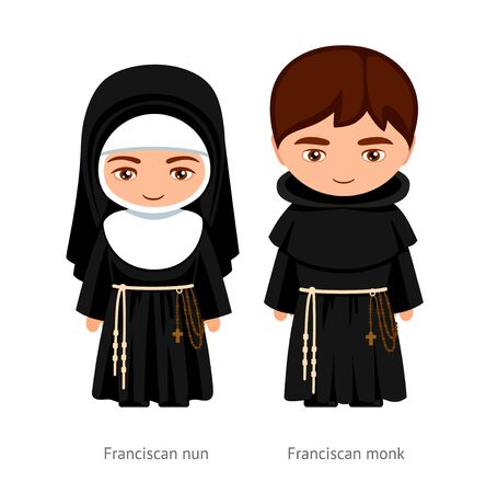 Franciscan monk and nun. Catholics. Religious man and woman. Cartoon character. Vector illustration. Çizim