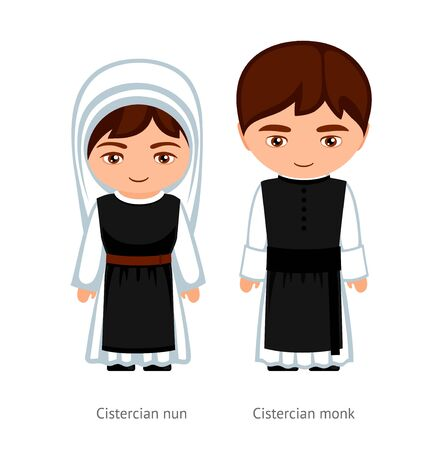 Cistercian monk and nun. Catholics. Religious man and woman. Cartoon character. Vector illustration. 写真素材 - 133290197