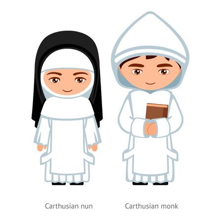 Carthusian monk and nun. Catholics. Religious man and woman. Cartoon character. Vector illustration.  イラスト・ベクター素材