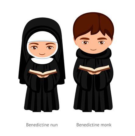 Mnich i zakonnica benedyktyńska, trzymający w rękach Biblię. Katolicy. Religijny mężczyzna i kobieta. Postać z kreskówki. Ilustracja wektorowa.