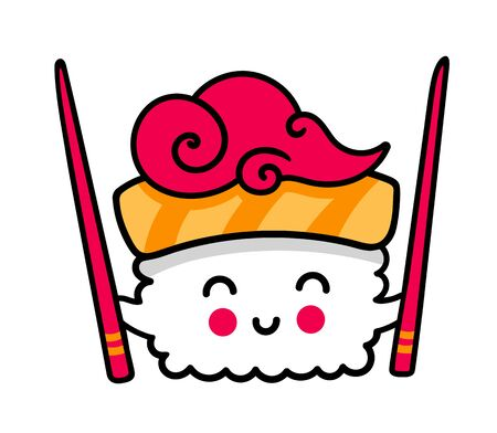 Small kawaii sushi with chopsticks. Cute cartoon character for sticker pin, badge. Simple vector illustration.