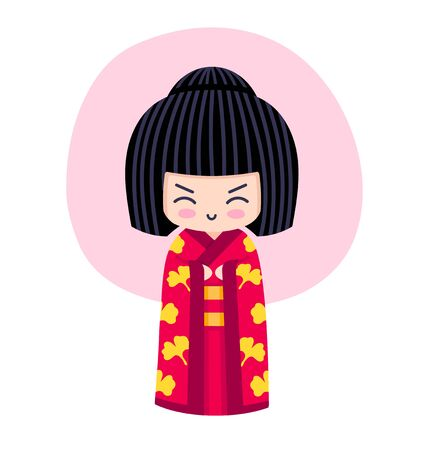 Kokeshi. Kawaii little traditional doll. Japanese girl in kimono. Vector flat illustration. 写真素材 - 133175985
