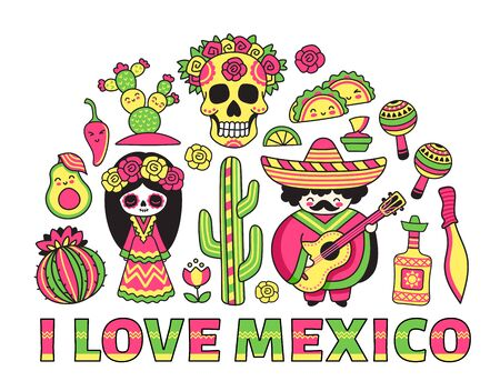 Travel to Mexico. Banner, poster, postcard with traditional national symbols. Cartoon vector illustration. 写真素材 - 133290203