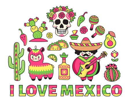 I love Mexico banner. Concept for t-shirt, print, poster, wall art, postcard. Scull, pinata, cactus, musician, sombrero. Cartoon illustrations.