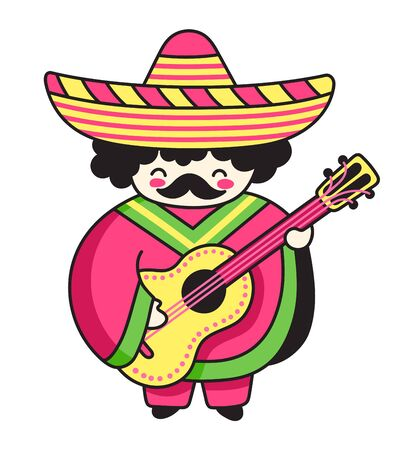 Mexican musician. Guitarist in poncho and sombrero. Cute cartoon character. Vector illustration.