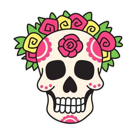Mexican skull in flower wreath. Cartoon vector illustration for pin, sticker, patch, badge. Çizim