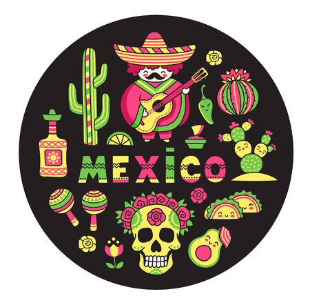 Set of mexican national symbols on a black background in circle. Colorful vector illustration.