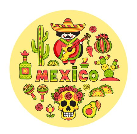 Mexico. Concept for t-shirt, print, poster, wall art, postcard, banner. National symbols. Round vector illustration.