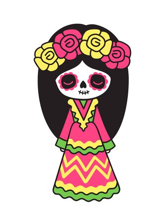 Little girl with Day of Dead makeup in wreath of roses. Mexican woman in traditional costume. Vector cartoon illustration. 写真素材 - 133290296