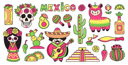Travel to Mexico. Day of the Dead. Skull, pinata, tequila, cactus, maracas, pyramid. Set of cartoon stickers, patches, badges, pins. Vector illustrations.