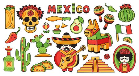 Mexican musician playing on guitar in sombrero and poncho, cactus, pinata, marcases, scull. Set of cartoon stickers, patches, badges, pins. Vector illustration. Ilustracja