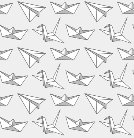 Origami seamless pattern. Graphic monochrome print for fabric, textile, wallpaper, postcard, clothes. Vector cartoon illustration. 写真素材 - 133290299
