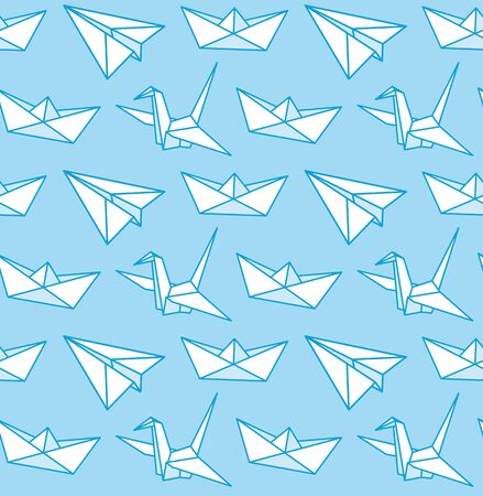 Paper airplane, boat, crane. Origami. Vector seamless pattern on a light blue background for wallpaper, fabric, textile.