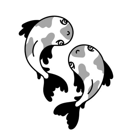 Japanese carps. Cute cartoon fish for tattoo, pin, sticker, badge, patch. Vector graphic illustration.  イラスト・ベクター素材