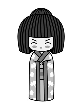 Kawaii little traditional kokeshi dolls. Cute cartoon japanese girl in kimono for tattoo, pin, sticker, badge, patch. Vector illustration. 写真素材 - 133176384