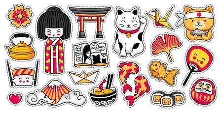Conjunto de pegatinas de dibujos animados japoneses kawaii. Muñeca Kokeshi, maneki-neko, carpas, origami, fuji, sushi, manga, hoja de ginko, pez taiyaki, torii. Ilustraciones vectoriales. Ilustración de vector