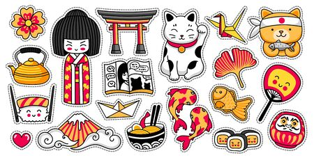 Ensemble d'autocollants de dessin animé japonais kawaii. Poupée Kokeshi, maneki-neko, carpes, origami, fuji, sushi, manga, feuille de ginko, poisson taiyaki, torii. Illustrations vectorielles. Vecteurs