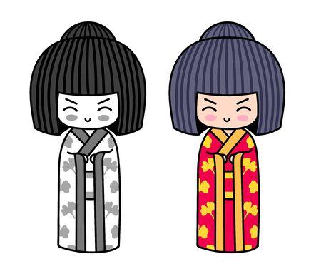 Kawaii little traditional kokeshi dolls. Japanese girls in kimono. Vector illustrations. 写真素材 - 133290449