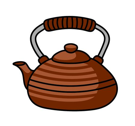Japanese traditional teapot. Cute cartoon pin, sticker, badge, patch. Simple vector illustration.