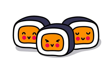 Little kawaii sushi with cute faces. Cute cartoon characters for sticker, pin, badge. Simple vector illustration.