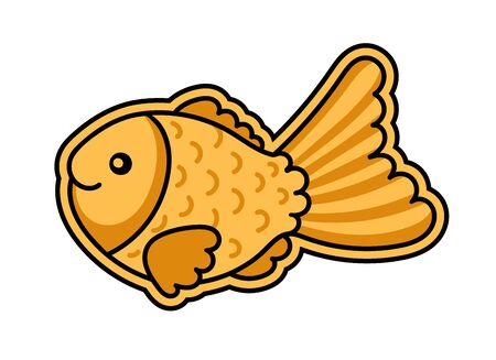 Taiyaki fish. Cute cartoon character for sticker, pin, badge. Simple vector illustration.  イラスト・ベクター素材