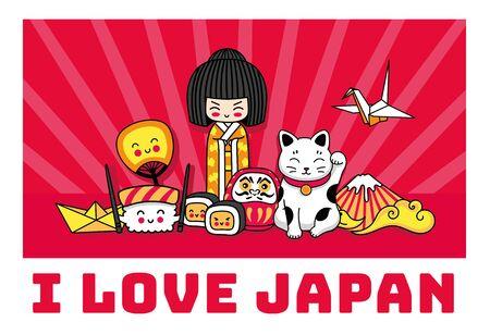 I love Japan banner. Concept for t-shirt, print, poster, postcard, souvenir. Cartoon illustrations. Kokeshi doll, maneki-neko, origami, fuji, sushi, ginkgo leaf. 写真素材 - 133290454