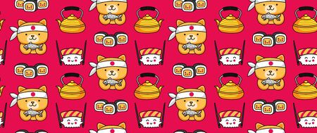 Red seamless pattern with sushi, kettle, tea and chef dog, holding fish. Japanese background. Cartoon vector illustration. Çizim