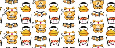Seamless pattern with funny sishi characters for japanese restaurant, cafe, bar. Cartoon vector illustration.