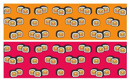 Seamless pattern with cute little sushi for restaurant, cafe, bar. Cartoon vector illustration.  イラスト・ベクター素材