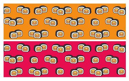 Seamless pattern with cute little sushi for restaurant, cafe, bar. Cartoon vector illustration. Standard-Bild - 133290462