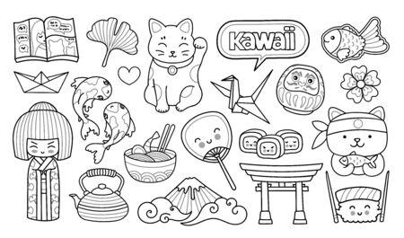 Geisha, Maneki-Neko, Sushi, Sakura, Origami. Japanische Symbole. Cartoon-Umriss-Illustrationen für Malbuch Vektorgrafik