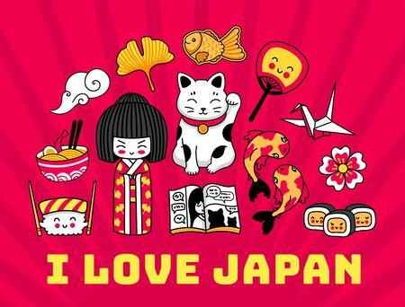 Japan. Red banner, postcard with famous japanese symbols. Geisha, maneki-neko, sushi, sakura, origami. Cartoon vector illustration. 写真素材 - 133179748