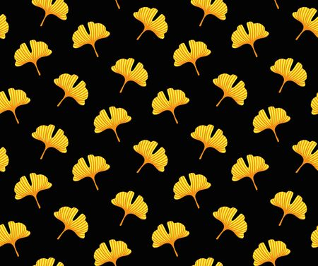 Yellow japanese leaves on a black background. Ginkgo. Vector seamless pattern for fabric, wallpaper, textile. 写真素材 - 133290493