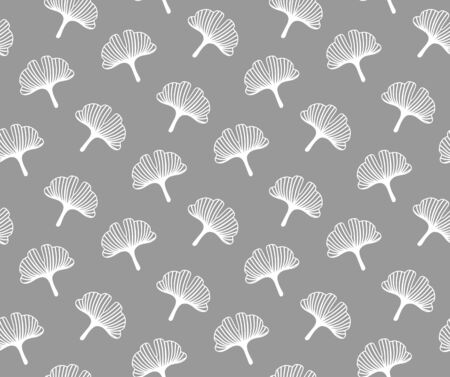 Ginkgo leaves. Seamless monochrome graphic japanese pattern for wallpaper, fabric, textile.