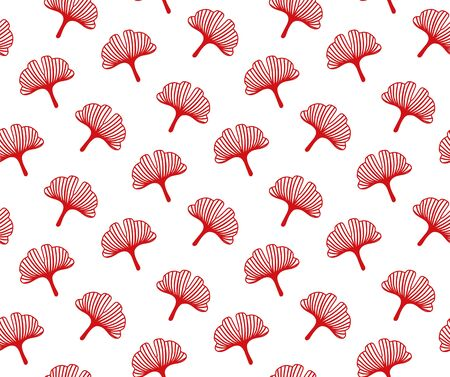 Red lace ginkgo leaves on a white background. Japanese seamless pattern for textile, fabric, wallpaper. Vector illustration.