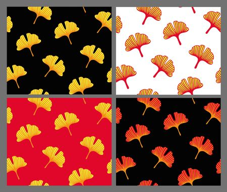 Ginkgo leaves. Set of japanese seamless pattern for textile, fabric, wallpaper. Vector illustration.