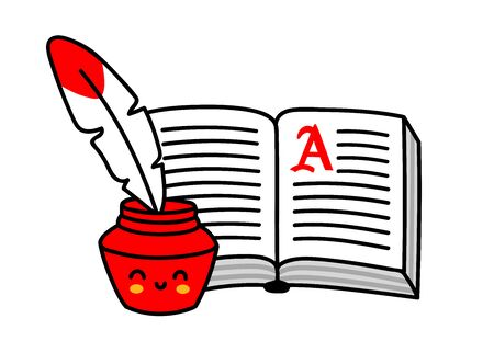 Old book and inkwell with feather. Cute cartoon character. Simple vector cartoon illustration. Çizim