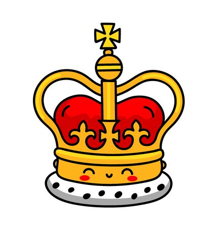 English golden crown with jewels. Royal symbol of UK monarchy. Cute cartoon character with smiley face. Vector illustration.
