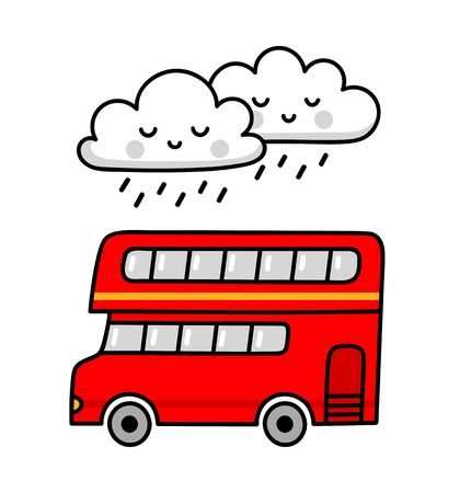 Double-decker red english bus in the rain. Simple vector illustration.