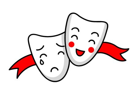 Theatrical masks. Comedy and tragedy. Cute simple vector illustration.