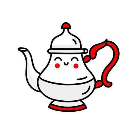 Cute teapot with smiley face. Cartoon character. Simple vector illustration.