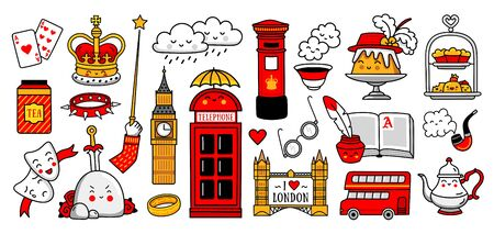 English tea party, telephone box, red double-decker bus, crown, bridge. Set of cartoon stickers, patches, badges, pins, stamps, emblems. United Kingdom icons. Vector illustration.