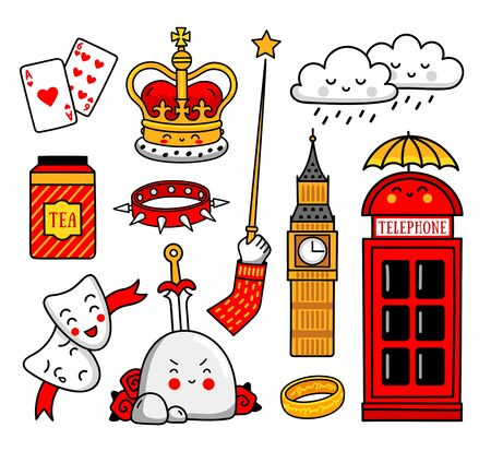 Set of cartoon english stickers, patches, badges, prints, pins. Cute vector illustration.