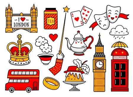 Crown, red telephone box, bus, tea, tower clock, pudding. Set of english stickers, pins, patches, badges, prints, vector illustrations. Çizim