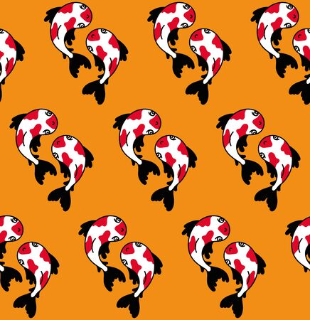 Red carps. Japanese seamless pattern for textile, fabric, wallpaper. Vector illustration.
