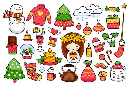 Big set of cute cartoon christmas stickers, pins, prints. Snowman, pine tree, candle, snow ball, bell, gift. Vector illustrations. Çizim