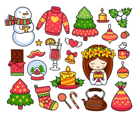 Merry Christmas set. Collection of cute stickers, prints, pins. Pine tree, snowman, mistletoe, mulled wine, decorations, gifts, sweets. Doodle vector illustration.
