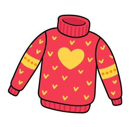 Red knitted sweater with yellow heart. Cute pullover. Simple vector illustration.