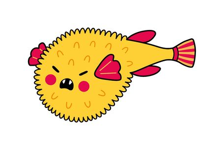 Furious puffer fish. Fugu. Funny cartoon character with angry face. Vector illustration.